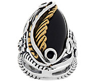 American West Sterling/Brass Black Onyx Leaf Design Ring - J296290