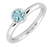 Simply Stacks Sterling 5mm Round Aquamarine Solitaire Ring - J298790