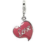 Amore La Vita Sterling Dimensional Pink LoveHeart Charm - J309890