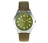 Peugeot Mens Military Dial Green Canvas Watch - J312690