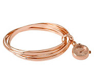 Bronze Large Rolling Bangles w/Watch Charm by Bronzo Italia - J313790