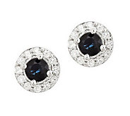 Sterling Round Gemstone & White Topaz Accent Earrings - J314090