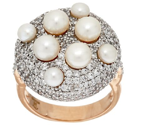 Honora Cultured Pearl Pave' Crystal Bronze Ring - J319990