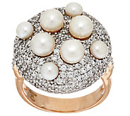 Honora Cultured Pearl Pave Crystal Bronze Ring - J319990