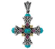 Barbara Bixby Sterling & 18K Opal Triplet & Turquoise Cross Enhancer - J320790