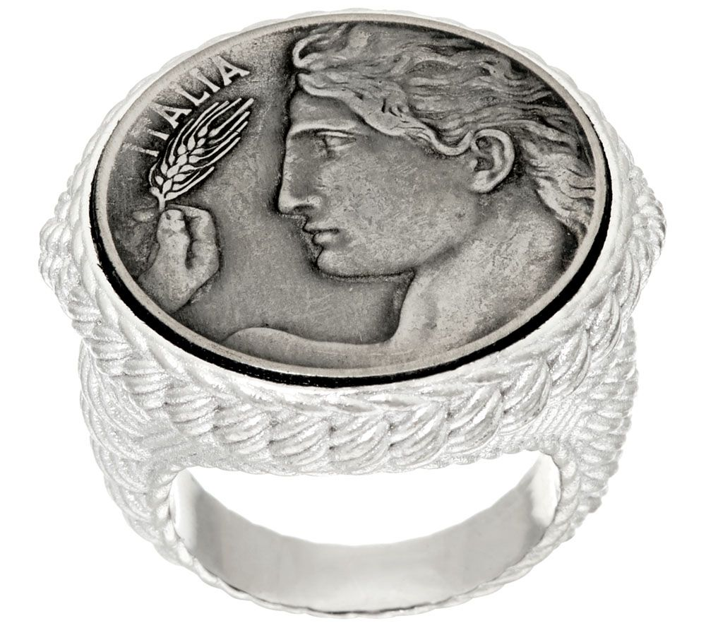 Judith Ripka Sterling Verona Round Textured Coin Ring - J323190