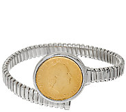 Vicenza Silver Sterling 200 Lire Coin Tubogas Bracelet, 21.0g - J326490