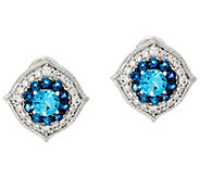 Judith Ripka Sterling 1.70 cttw Blue Topaz Button Earrings - J327390