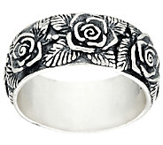 Sterling Silver Gathered Rose Band Ring by Or Paz - J328090