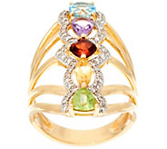 Multi-Cut Gemstone Elongated Sterling Silver Ring, 1.80 cttw - J329590