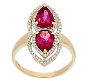 Pear Shaped Rubellite & Pave Diamond Elongated Ring 14K, 2.20 cttw - J330990