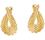 Oro Nuovo Ribbed Front to Back Hoop Earrings 14K - J331590