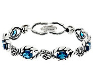 Carolyn Pollack Sterling Silver Oval Gemstone Brilliant Link Bracelet - J332590