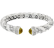 JAI Sterling Green-gold Quartz Croco Texture Hinged Bracelet - J332790
