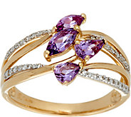 Multi-Cut Purple Sapphire & Diamond Ring 14K Gold 0.75 cttw - J335590