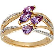 Multi-Cut Purple Sapphire & Diamond Ring 14K Gold 0.75 cttw - J335590