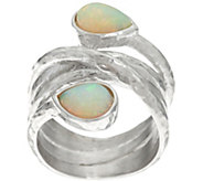 As Is Italian Silver Sterling Opal Textured Bypass Ring - J335790