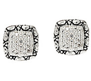 JAI Sterling Silver Croco Border Pave Gemstone Stud Earrings - J346290
