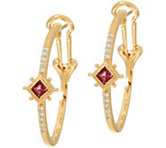 Judith Ripka 14K Gold Gemstone & Diamond Hoop Earrings - J348090