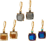 Joan Rivers Set of 3 Metallic Crystal Drop Earrings - J349090