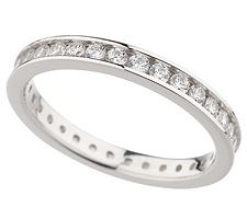 Epiphany Diamonique 3/4 ct tw Round Silk Fit Eternity Band