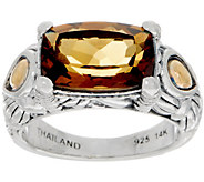 JAI Sterling & 14K Cognac Quartz Cushion Cut Ring - J350290