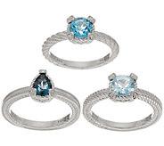 Judith Ripka Sterling Set of 3 Blue Topaz Rings - J352390