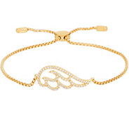 Diamonique Angel Wing Adjustable Bracelet, 14K Gold Clad - J353790