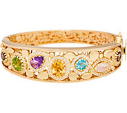 As Is Arte dOro Small Multi-gemstone Oval Bangle 18K, 26.7g - J353990