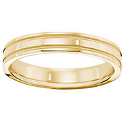 Mens 14K Yellow Gold 4mm Milgrain Wedding Band - J376690