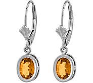 14K White Gold Oval Gemstone Leverback Earrings - J376990