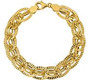 Italian Gold Oval Textured Link Bracelet 14K, 5.8g - J377690