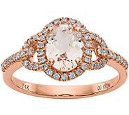 14K Rose Gold Diamond & Morganite Halo Ring - J378290