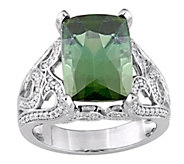 14K 7.05 ct Green Tourmaline & 6/10 cttw Diamond Ring - J379090