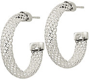 Sterling Mesh Post Hoop Earrings by Silver Style - J379890