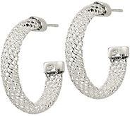 Sterling Mesh Post Hoop Earrings by Silver Style - J379890