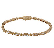 Judith Ripka 14K Gold 7-1/4 Diamond Oval LinkBracelet - J381190