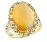 14K Gold 9.00 cttw Opal and Yellow Sapphire Ring - J382490