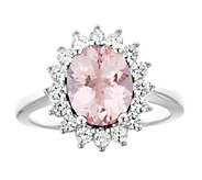 14K Gold 1.80 cttw Oval Morganite Halo Ring - J382590