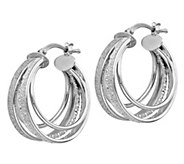 Italian Silver Multi-Hoop Glimmer Hoop Earrings - J382890