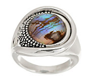 Michael Dawkins Sterling Starry Night Round Gemstone Doublet Ring - J277491