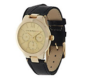 Isaac Mizrahi Live! Round Case Double Strap Leather Watch - J279991