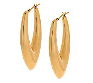 Oro Nuovo Elongated Teardrop Design Hoop Earrings 14K - J286491