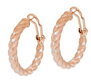 Judith Ripka 14K Gold Clad Burnished Diamonique Hoop Earrrings - J291791