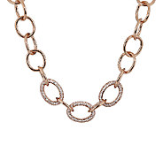 Bronze Adjustable Pave Crystal Necklace by Bronzo Italia - J291891