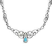 Carolyn Pollack Sleeping Beauty Turquoise Pear Enhancer Scroll Design Necklace - J293791