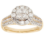 Michael Beaudry 1.25 cttw Cushion with Round Halo Ring 14K Gold - J294391