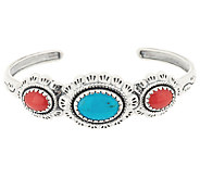 Turquoise & Coral Scallop Design Sterling Cuff by American West - J294791