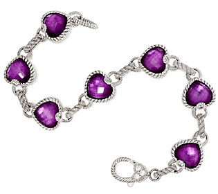 Product image of Judith Ripka Sterling & Raspberry Doublet Heart Bracelet 6-3/4""