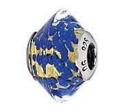 Prerogatives Sterling Gold and Blue Italian Murano Glass Bead - J300291